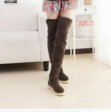 WOMENS LADIES FLAT HEEL OVER THE KNEE THIGH HIGH FUR LINING WINTER BOOTS SHOES