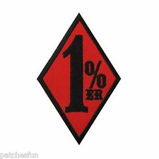"""3  1/2"""" Red 1%er One Percent Outlaw Biker Motorcycle Club Iron on Patch #1421"""