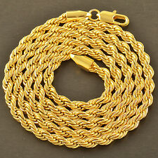Handsome 14K Yellow Gold Plated Mens Rope Chain Hip Hop Jewelry Necklace 23-24""
