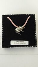 A14 Frog Motif Pewter  PENDENT ON A PINK CORD Necklace Handmade