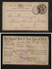 Cape of Good Hope, Ceres postal card 1895  revalued card                SS0325