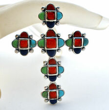Sterling Silver Cross Gemstone Pendant Carnelian Lapis Turquoise Coral Gaspeite