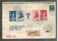 1943 Saumur France Cover to Italy # B149-B152a