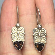 VINTAGE Sterling Silver 925 Sajen Smoky Kidney Wire Earrings K70