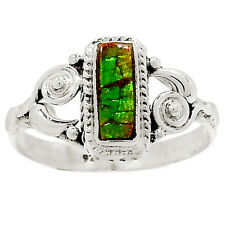 Genuine Canadian Ammolite 925 Sterling Silver Ring Jewelry s.9 RR28560