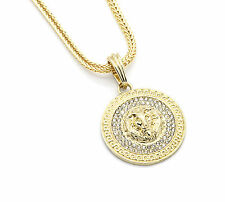 """Mens Medallion Patern Lion Gold Plated 24"""" Franco Chain Pendant Necklace"""