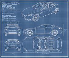 """EVAN 043 Blueprint - Tesla Racing Car Super Car 28""""x24"""" Poster"""