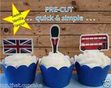 London EDIBLE stand up standup cupcake toppers PRE-CUT England UK