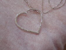 Zales 14k White Gold Large 1 Ct. Diamond Open Heart Pendant Necklace.  $2999