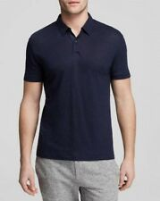 NEW THEORY BRON W ZEPHYR WASH INDUSTRIA BLUE 100% LINEN CASUAL POLO SHIRT SIZE S