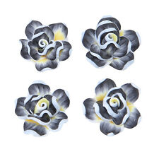 20x Black Colorful FIMO Polymer Clay Flower Shape Charms Bead Fit Jewelry DIY L