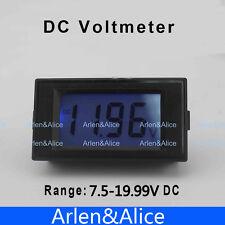 LCD Digital Panel Voltmeter DC 7.5-19.99V Blue backlingt DC Monitor voltage mete