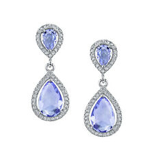 925 Sterling Silver Formal Drop Dangle Pear Shape Tanzanite Earrings with CZ's