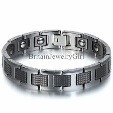 12MM Black Tungsten Carbide Magnetic Men's Boy's Cuff Bangle Bracelet 7.9""
