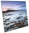 Sunset Dunstanburgh Castle SQUARE CANVAS WALL ART Print Picture