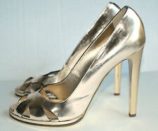 ROBERTO CAVALLI Gold Open Toe Pump Heels EU 39 US 9 8.5
