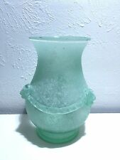 Monumental Cenedese For Seguso Vetri D' Arte Murano Sea Foam Green Scavo Vase