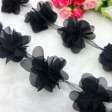 New 1 Yard Black Flower Chiffon Wedding Dress Bridal Fabric Lace Trim