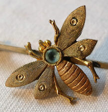 antique Edwardian art deco gilt blue rhinestone fly insect bug bar brooch -K319