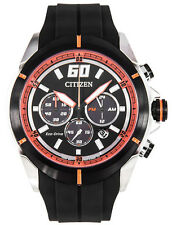 Citizen CA4105-02E Eco Drive Black Dial Rubber Strap Chronograph Men's Watch
