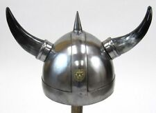 VIKING WARRIOR HELMET WITH HORNS - ARMOR HELMET - MEDIEVAL KNIGHT CRUSADER HELM