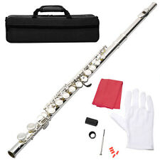 BRAND NEW SILVER SCHOOL BAND STUDENT C FLUTE W/KIT CASE GLOVES