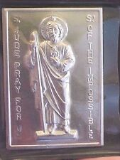 St JUDE Silver Metal Saint Plaque Folder Pocket Catholic SHRINE Difficult Times