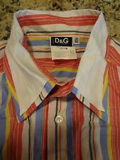 **BEST BUY** D&G DOLCE & GABBANA MEN SHIRT 36/50 MULTICOLOR STRIPES LONG SLEEVES