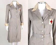 Vtg STEIN UNIFORM c.1940s Gray White WWII Military Red Cross Nurse Dress Size 36