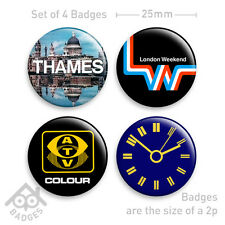 BBC Thames Television ATV LWT TV Idents Logos - Set of 4 x 25mm Badges - Set 1