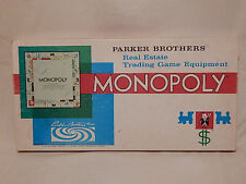 1961 Parker Brothers Monopoly Real Estate Trading Game Equipment 100% Complete