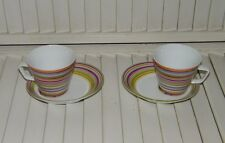 Set of 2 Tabletop Company Cafe Groove Cup Saucer Set Stripes UK 17796