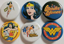 Wonder Woman Comic Badge Button Pin Party Favors Stocking Stuffers set of 6