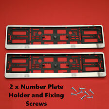 2x Chrom Number Plate Surrounds Holders Frame For All Cars and Fixing Screws