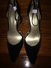 CHRISTIAN Siriano Black Legend Ankle Strap Pumps size 12 NWOB