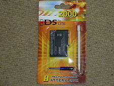 NINTENDO DS LITE REPLACEMENT RECHARGEABLE BATTERY BRAND NEW! 2000 mAh + Stylus