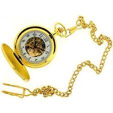 Reloj De Bolsillo Boxx para Hombres Tono Oro Esqueleto Mecánico Cadena de 12 pulgadas Boxx