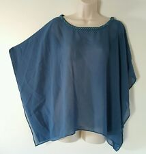Dana Kay Solid Blue Batwing Sleeve Beaded Collar Sheer Top Blouse Plus Size 18W