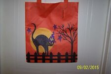 NWT Trick Or Treat HALLOWEEN Large Orange Candy Tote Bag BLACK CAT