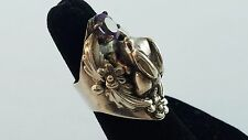 Carol Felley Sterling Silver Ring 3D Bunny Rabbit Flower Purple Amethyst Sz 5
