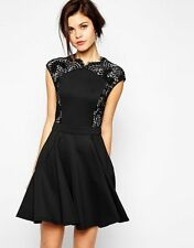 NWT Ted Baker Black Vivace Lace And Neoprene Panels Fit And Flare Dress 5  US 12
