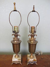 Vintage Pair Brass Trophy Neoclassic Hollywood Regency Matching Lamps