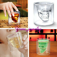 1Pcs Red Wine Whiskey Clear Skull Head Shape Crystal Drinking Ware Glass Cup Y2