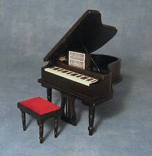 Dolls House Miniature 1/12th Scale Black Grand Piano with Red Upholstered Stool
