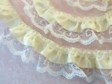 5 yards Satin White French Floral Lace/2 Layer Ruffle Trim/Sewing/Sew T39-Ivory