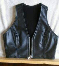 First Genuine Leather: Black Women's Leather Cropped Vest,Size  Extra Small