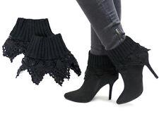New Black Women Crochet Knit Boot Socks Toppers Leg Warmers Cuffs