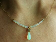 Ethiopian Fire Opal 3ctw pear briolette stamped yellow gold 14k necklace