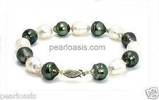 """9.5MM - 10.5MM Multi Color South Sea and Tahitian Pearl Bracelet 14K Clasp 8"""","""