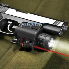 Combo CREE Flashlight+Red Dot Laser/Sight Tactical Weaver Rail For Pistol/Gun US